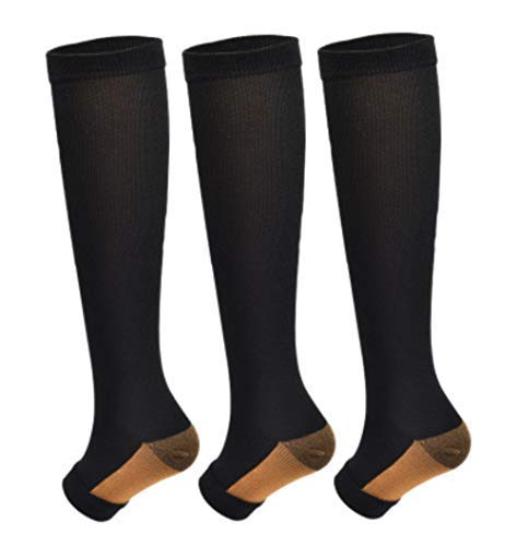3Pairs Copper Open Toe Toeless Compression Socks(15-20mmHg) for Men and Women Knee High Stocking (Black, L/XL)