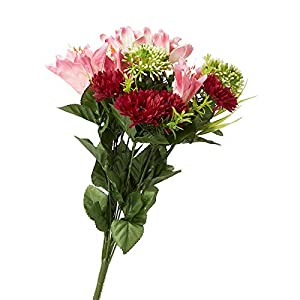 Factory Direct Craft Pink Artificial Lily Aster and Cosmos Bush 19