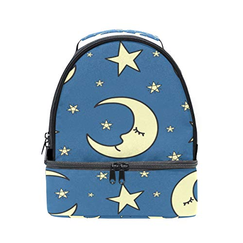 Moon Shiny Night Light Portable School Shoulder Tote Lunch Bag Handbag Kids Double Lunch Box Reusable Insulated Cooler For Women Student Travel Outdoor