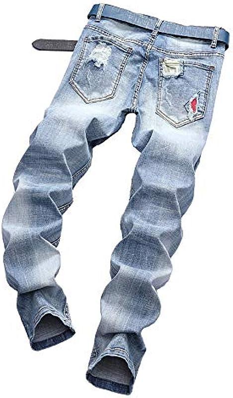 Tomatoa męskie dżinsy Slim Fit dżinsy dżinsy dżinsy denim dżinsy Streetwear Destroyed stretch dżinsy dżinsy rekreacyjne rozrywane proste nogawki dżinsy spodnie do biegania spodnie