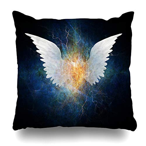 Ahawoso Throw Pillow Covers Cool Painting Wing Abstract Angel Nature Spirituality Funky Heraldic Shape Air Design Emblem Home Decor Pillowcase Square Size 20