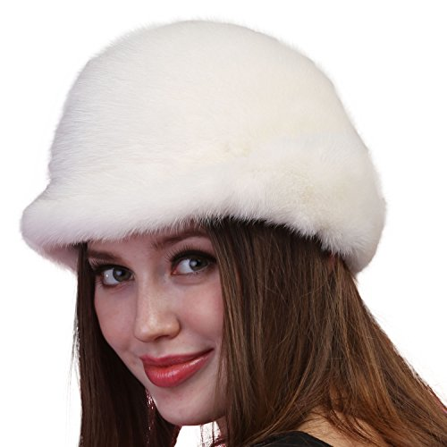 Mandy's Women's Autumn Winter Warm Mink Fur Hats New Dress Show Cap Flexible (One Size, White) by Mandy's