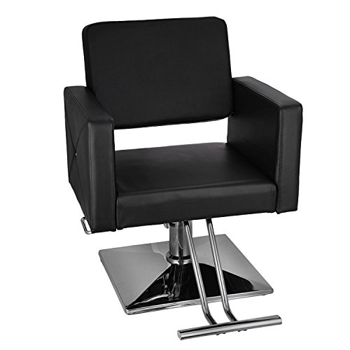 Happybuy Hydraulic Barber Chair PU Leather Styling Chairs for Salon Modern Hydraulic Lift Square Barber Chair Salon Beauty Equipment Hairdresser Tattoo Shaving Barber Chair