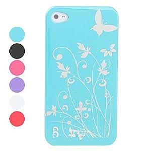 HOR Carcasa Frontal y Posterior de Policarbonato Suave al Tacto y Diseño de Mariposas, para el iPhone 4 y 4S , Rosa