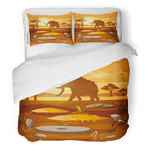 Semtomn Decor Duvet Cover Set Full/Queen Size Stone Age Hunting for Mammoth Prehistoric Tool Neolithic Paleolith 3 Piece Brushed Microfiber Fabric Print Bedding Set Cover