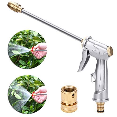 niahode Garden Hose Nozzle, Heavy Duty Metal Spray Gun, 360° Rotaing Water Adjustmen High Pressure Leak Proof Pistol Grip Sprayer for Car Washing, Plants Watering, Pets Shower, Cleaning (Long, Silver)