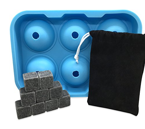 Alpha-Iridium-Whiskey-Stones-and-Ice-Cube-Mold-Combo-Pack-Includes-Both-a-Set-of-9-Natural-Soapstones-With-Velvet-Storage-Pouch-Along-With-a-Spherical-Ice-Cube-Silicone-Mold-That-Holds-6-Ice-Cubes