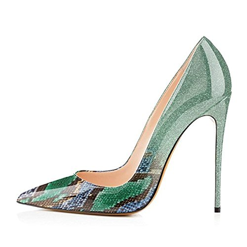 VOCOSI Gradient Pumps Dress Pointy for Usual Snake Women Shoes Heels Animal Print Green print Toe Patent High SwSYEr