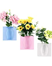 ORNOOU 3 Pack Hanging Sticky Flowers Vases Silicone Flexible for Window Self Adhesive Air Plant Holder
