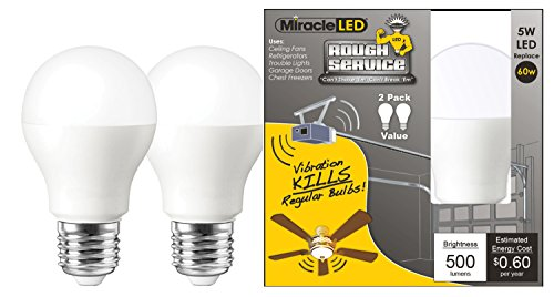 MiracleLED 606542 Rough Service Led Energy Saver Household Replacement Light Bulb, Great for Hard To Reach Areas Like Garage Door / Shop / Fan Light, Cool Bright White Color, 2-Pack, by MiracleLED