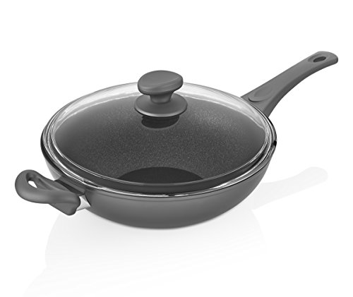 Saflon Titanium Nonstick 11 Inch Wok/Stir Fry Pan with Tempered Glass Lid Forged Aluminum with PFOA Free Scratch Resistant Coating from England, Dishwasher Safe