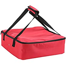 """Polyester Insulated Pizza/Food Delivery Bag Professional Pizza Delivery Bag Professional Takeaway Packet 14""""×14""""×4.5""""(Red)"""