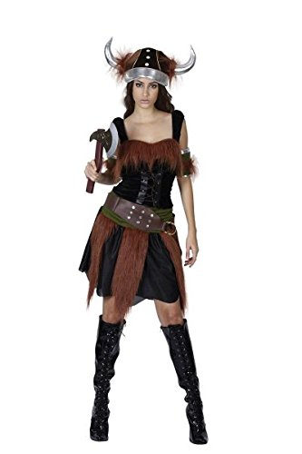 Bristol Novelty AC883 Viking Lady Costume, Brown, Size 10-14