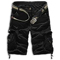 leward Mens Casual Slim Fit algodón Solid Multi-Pocket Cargo camuflaje Shorts