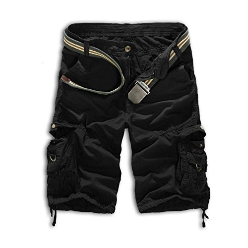 Leward Mens Casual Slim Fit Cotton Solid Multi-Pocket Cargo Camouflage Shorts (36, Black) Cotton Cargo Pocket Shorts