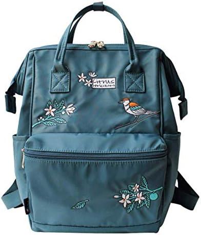 Damen Nylon-Rucksack, Stickerei, wasserdichte Tasche, 35,6 cm Laptop-Tasche, Blumendruck, College, Reisen, Laptop-Tasche für Mädchen, marineblau (Blau) - nv51214