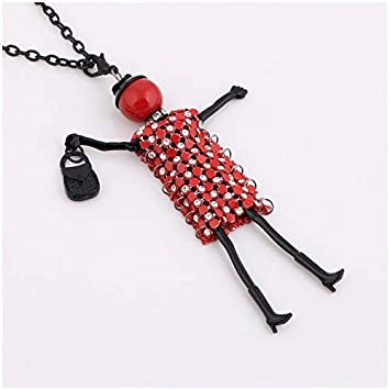Metal Color: XR0408 Davitu Trendy Necklace for Women Rhinestone Big Necklace CZ Choker Long red Crystal Pendants Chain Gifts Accessories Bohemian Jewelry