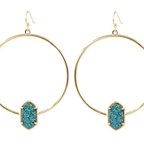 Faux Copper Circle Oval Druzy Quartz Drop Earrings Fashion Jewelry Punk Multicolor Hoop Drop Earrings for - Oval Faux Onyx