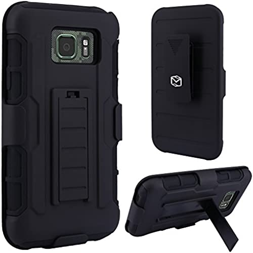 S7 Active Case, MP-Mall Heavy Duty Holster Hybrid Defender Armor Case Cover with Kickstand and Belt Swivel Clip For Samsung Galaxy S7 Active (Black) Sales