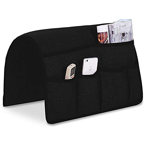 Guken Sofa Armrest Organizer, Couch Arm Chair Caddy Storage with 6 Pockets for TV Remote Control,Magazine,Smart Phone,Books, iPad (Black,19