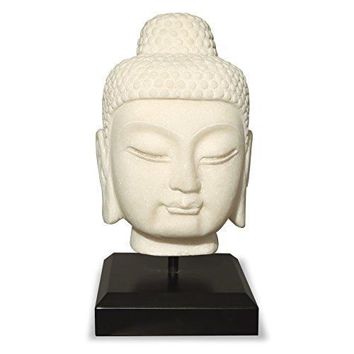 ChinaFurnitureOnline Hand Carved White Marble Buddha Head