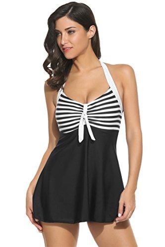 Lamore Women Girls 2 Piece Swimsuits Sexy Bikini Set Print Cross Front Bandage Swimwear