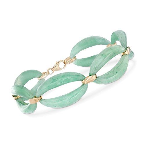 Ross-Simons Green Jade Link Bracelet in 14kt Yellow - Jade Gold Bracelet Green 14kt