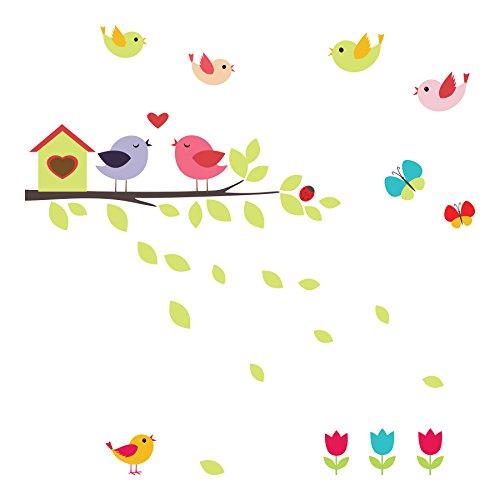 (Home Decor Line CR-64010 Birds On The Branch Window Stickers, Multi-Color)