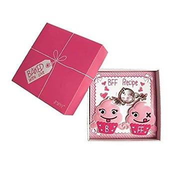 BmyBff mejores amigos 2 x llaveros Cupcake BFF en el cuadro de presentación. Perfect Best Friend Gifts/Best Friend Keyring. Gran regalo para niñas de ...