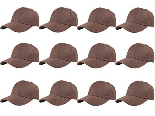 Gelante Plain Blank Baseball Caps Adjustable Back Strap Wholesale LOT 12 Pack- 001-Brown ()