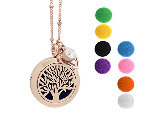 Rose Gold Tree of Life Essential Oil Diffuser Necklace -Aromatherapy Pendant-316L Stainless Steel Perfume Fragrance Jewelry for Women-20 Chain+8 Washable Felt Pads+2 Charms by Wonlee Winle