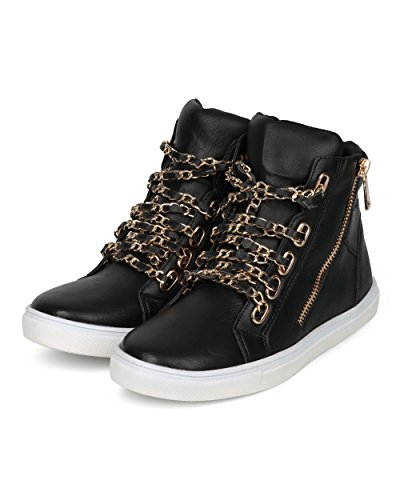 Sneaker Alrisco Da Donna - Sneaker Allacciato A Catena - Sneakers Casual Alla Moda - Di Liliana Collection Similpelle Nera
