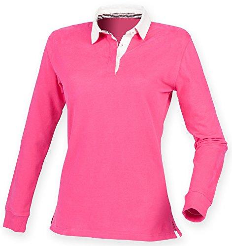 Front Row super en forma de mujer para senderismo Premium camiseta de Rugby - negro, de color rosa o azul oscuro/XS-2XL Bright Pink