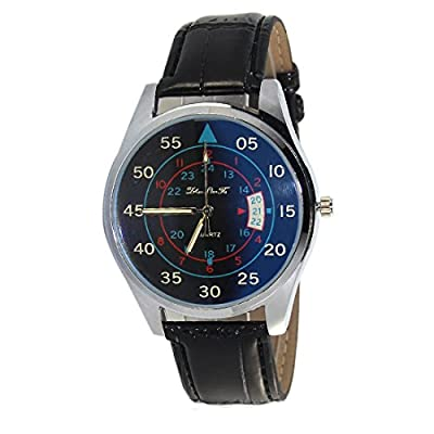 Souarts Mens Black Artificial Leather White Dial Quartz Analog Wrist Watch 24cm