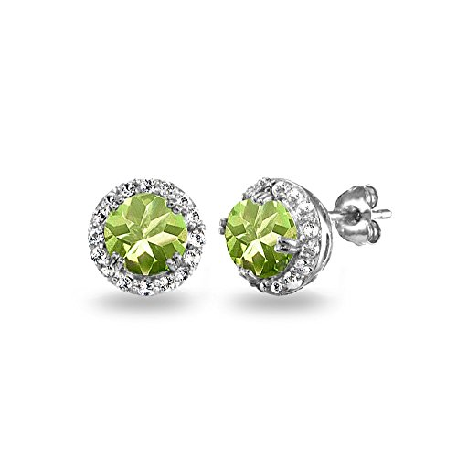 Sterling Silver Choice of Color Stones & White Topaz Round Halo Stud Earrings