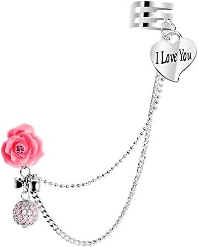 Body Candy Stainless Steel Pink Rose I Love You Heart Earring to Ear Cuff Chain Set