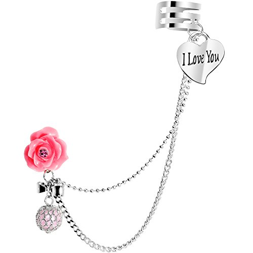 - Body Candy Stainless Steel Pink Rose I Love You Heart Earring to Ear Cuff Chain Set