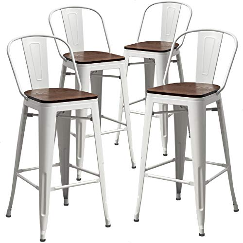 AKLAUS Metal Bar Stools with Backs Counter Stools Set of 4 Counter Height Bar Stools High Back Bar Chairs 30 Inch Cream