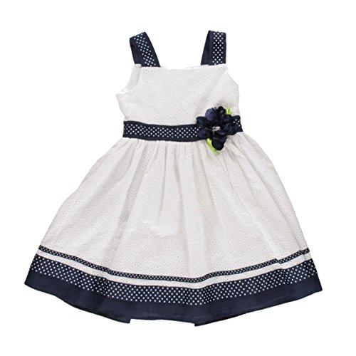 Sweet Heart Rose Girls Eyelet Polka Dot Party Dress Navy 6 (Eyelet Rose Dress)
