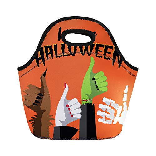 Semtomn Lunch Tote Bag Flat Happy Halloween Thumbs Up Werewolf Witch Zombie Reusable Neoprene Insulated Thermal Outdoor Picnic Lunchbox for Men -