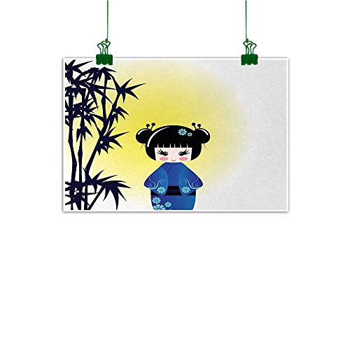 """Anime Mural Illustration of a Kokeshi Doll and Bamboo Tree Japanese Asian Traditional Kimono Wall Art Kitchen Multicolor W 40"""" x L 32"""""""