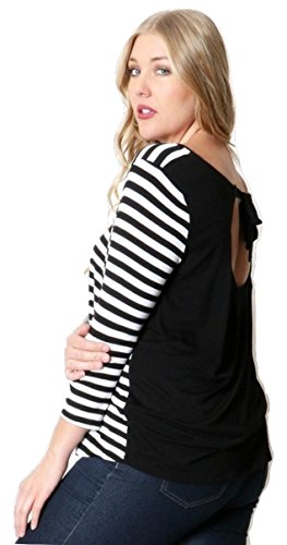 Womens-Plus-Size-Long-Sleeve-Striped-Shirt-Tie-Back-Knit-Rayon-Top