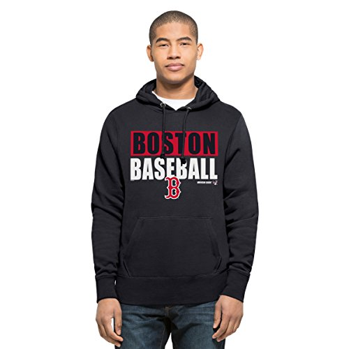 MLB Boston Red Sox Men's '47 Headline Pullover Hood, Fall Navy, - Jacket Hooded Red Sox Boston