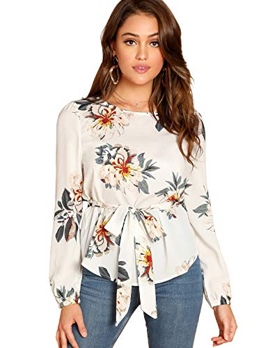 Milumia Women's Long Sleeve Belted Chiffon Floral Blouse Shirt Tops B-White ()