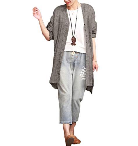 レディース コットンリネン 長袖 ゆったり 薄手 オープンフロン カーディガン ロング ボタンダウン ビーチオーバー アウターウエア 大きいサイズ