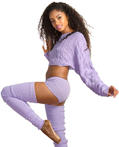 Purple / Plum Medium Crop Shadow Stripe Off Shoulder Cocoon Top, Low Rise Booty Shorts & 40 Inch Super Long Thigh High Leg Warmers KD dance Made In USA by KD dance New York