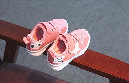 JIANGFU Jungen und Mädchen Sportschuhe, Kleinkind Kinder Star Letter Soft Sport Laufschuhe Sneaker Baby Mesh Schuhe Rosa
