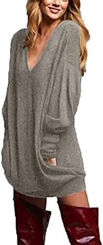 ZANZEA Women's V-neck Long Sleeve Loose Blouse Jumper Tops Mini Dress Pullover