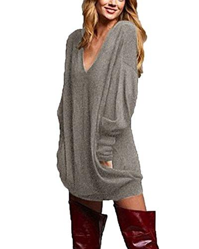 ZANZEA Femme Casual Cavalier Sexy Col V Manches Longues Hauts Lâche Shirt Robe Longue Blouse Gris 50 FR (Etiquette Taille: 2X-Large)