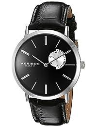 Akribos XXIV Men's AK848SSB Black Dial Silver and Black Leather Strap Watch
